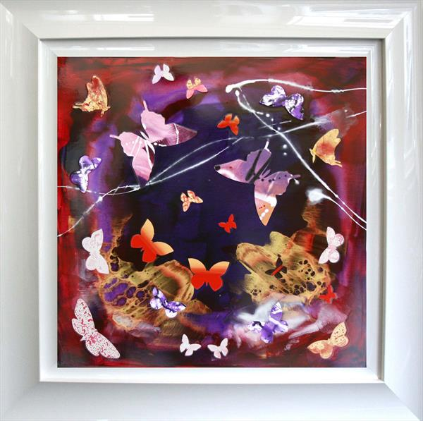 Fantasía (Butterfly collage, Framed, Gloss) On Display at the Art Gallery Tetbury