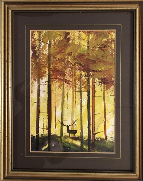 Lone stag in the forest at Dawn. ( framed original )  by Sarah Gill