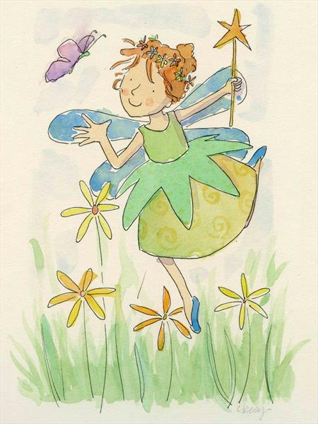 Fairy and butterfly by Claire Keay