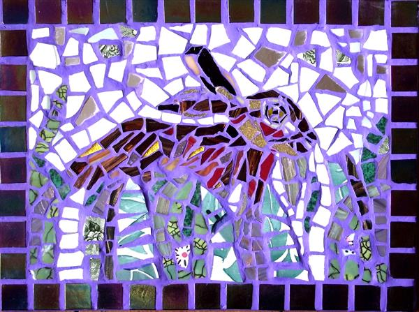 Brown hare mosaic by Gill Aitken