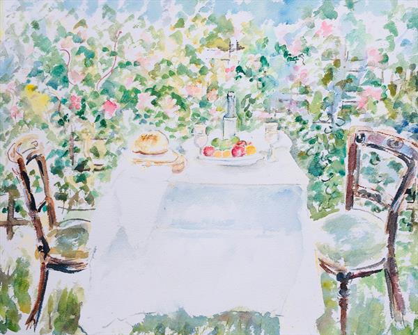 'AFTERNOON TEA' original,signedl watercolour by Beth Neal