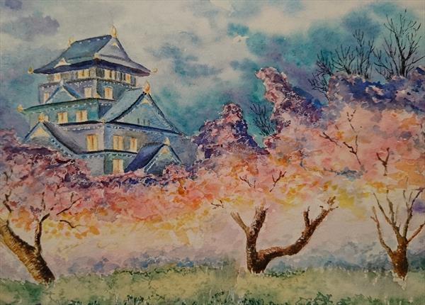 Japanese pink cherry blossom the light night sky temple Artist watercolour paper A3 Mother's Day Eas by Elena Haines