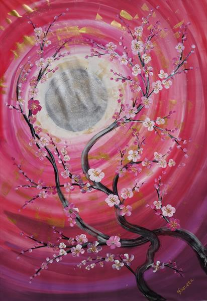 Cherry blossom red large acrylic painting B098 by Ksavera Art