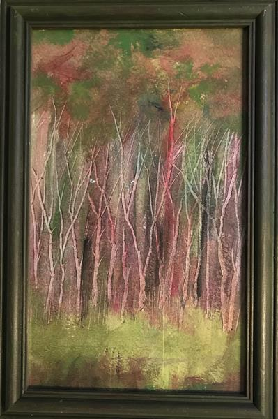 The glad green leaves of spring ( framed original oil ) by Sarah Gill