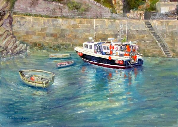 Newquay Harbour Reflections by Patricia Cunningham