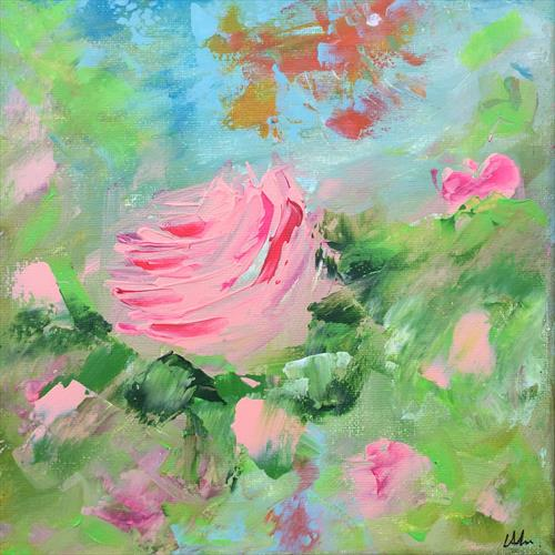 Mini Study - Vintage Pink beside the pond by Lucy Moore