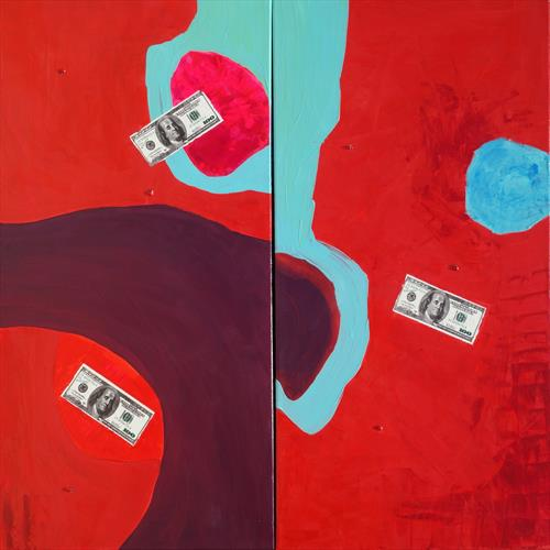 Lady bug red paintings abstract diptych A245
