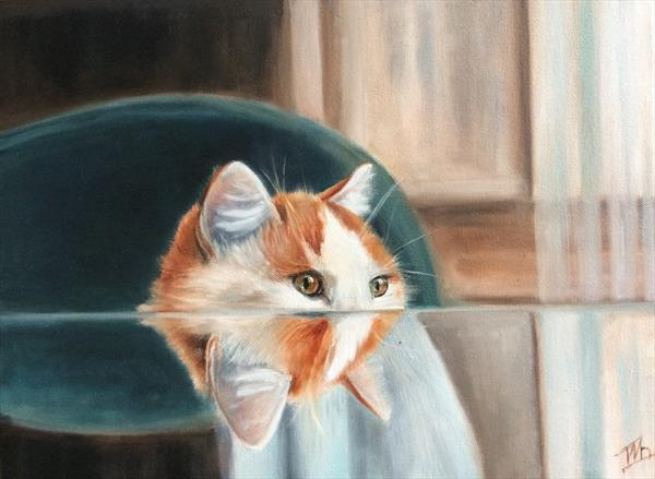 Waiting for something. Ginger Cat by Ira Whittaker