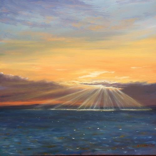 Sun rays in an evening sky by Kevin Franklyn