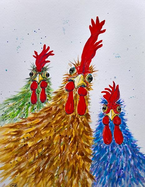 chickens, rooster, bird, farm animal by Marjan's Art