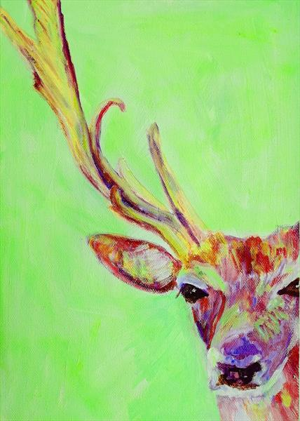 Green and Red Stag by Caroline Skinner