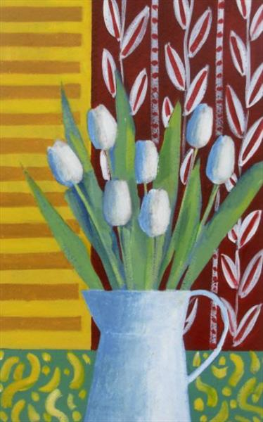 White Tulips and Yellow Shutters by Jan Rippingham