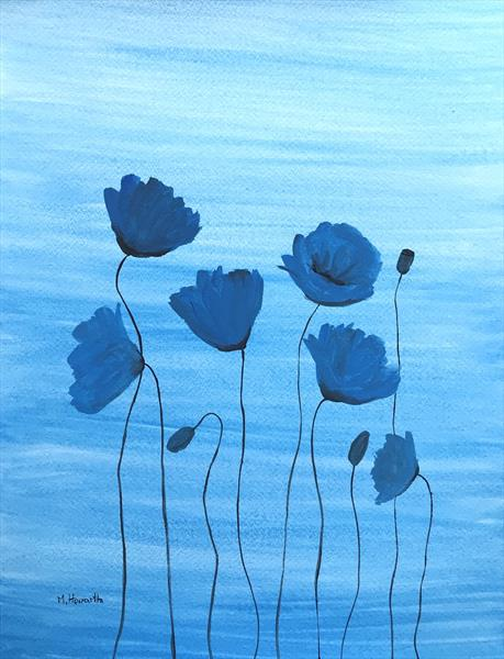 Blue poppies by Monika Howarth