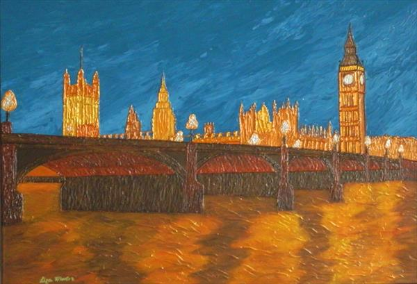 BIG BEN AT 10:30 PM - london cityscape, thames river evening and westminster bridge reflections  by Liza Wheeler