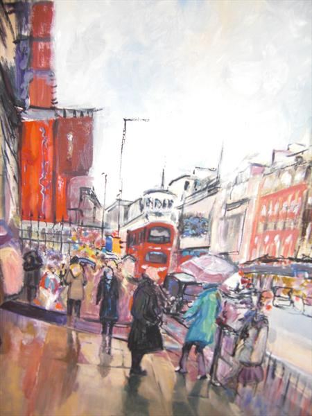 Londoners in the Rain by Lesley Blackburn