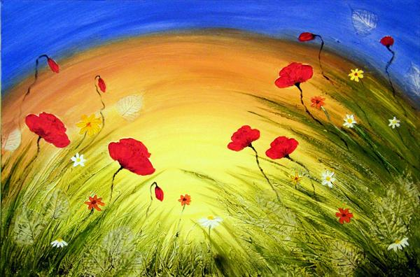 Wild Meadow Poppies (Reduced) by Roselind A'rt