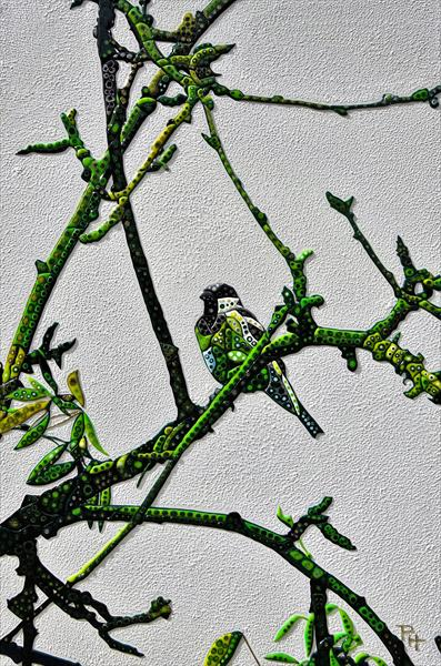 Abstract Bird on Branch (Sculptural) by Paula Horsley