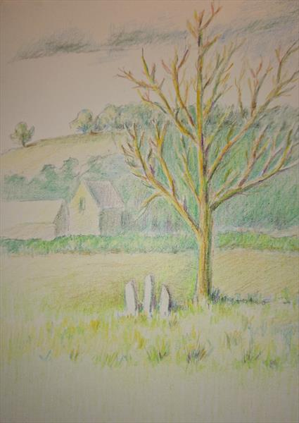 Sunny Autumn fields golden trees Churchyard Colours pencil sketch A5 by Elena Haines