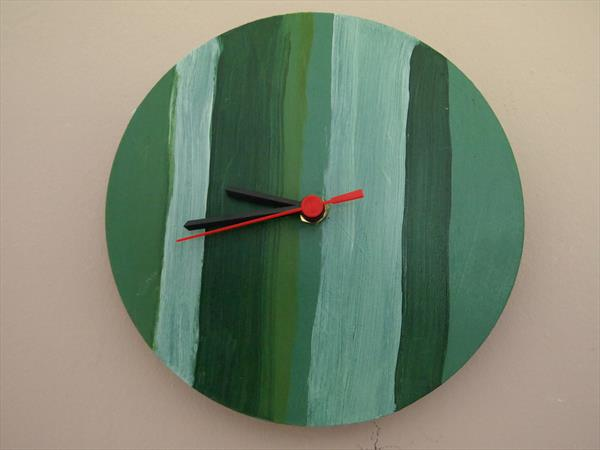 Green stripe, hand made wall clock by Steph Morgan