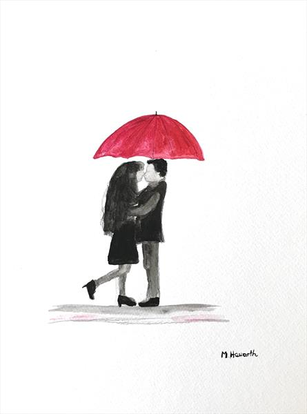 Love couple with red umbrella nr 13 by Monika Howarth