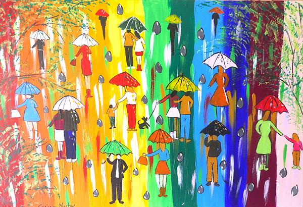 Colourful Umbrellas Rushing into a Rainbow Sky by Casimira Mostyn