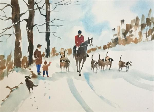 EXERCISING HORSE AND HOUNDS by Susan Shaw