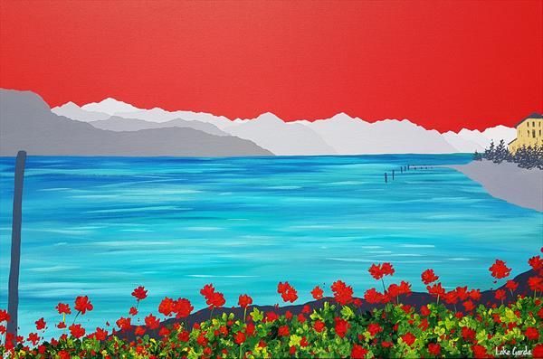 Geraniums at Lake Garda, ITALY by Sam Martin