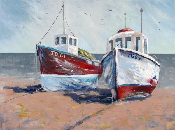 Companionship (Boats at Beer, Devon) Limited edition giclee by Tracey Pacitti