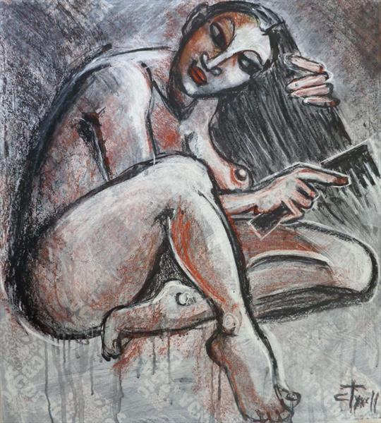 Woman Combing Her Hair - Female Nude by Carmen Tyrrell