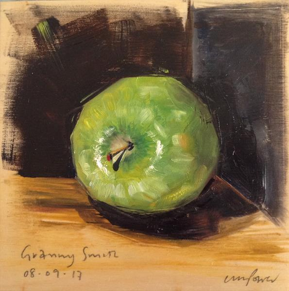Apple #01 - Framed still life oil painting by Luci Power