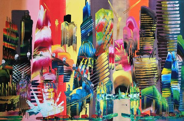 City of London Abstract Painting 2014 by Eraclis Aristidou