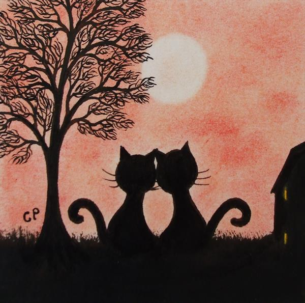 Romantic Cats Silhouettes (Framed)