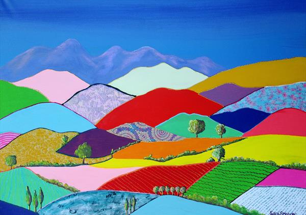 Rolling Hills and Mountains by Sara Spencer