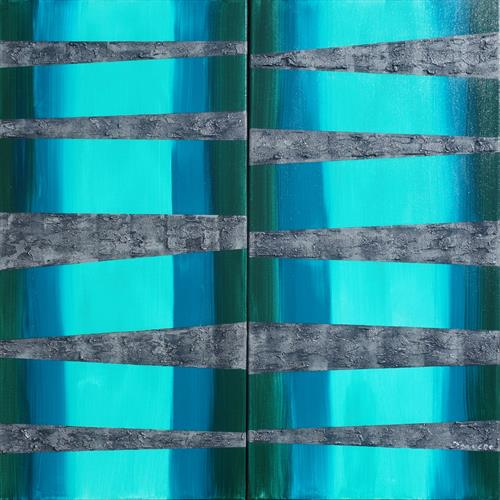 blue steel long textured abstract painting A254 by Ksavera Art