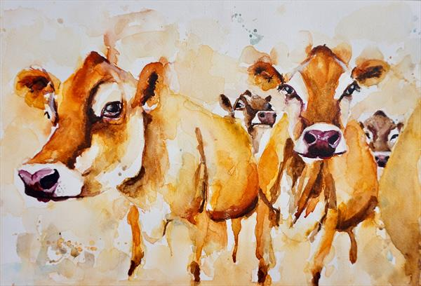 Jersey Cows 'Milking Time' by Anna Pawlyszyn