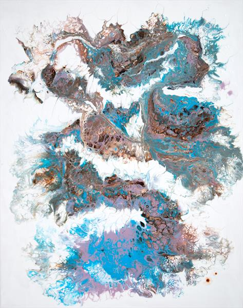 Abstract acrylic pouring composition in blue by Inna Stone