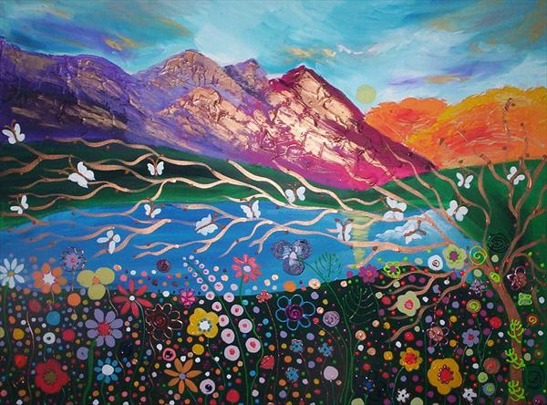 White Butterflies and Magical Flowers At Peyto Lake(Large Painting)