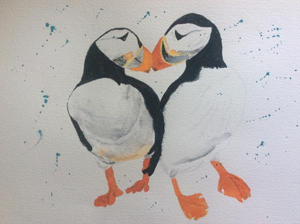 Pair of puffins by Denise Windle