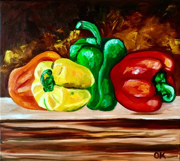Peppers, still life  by Olga  Koval