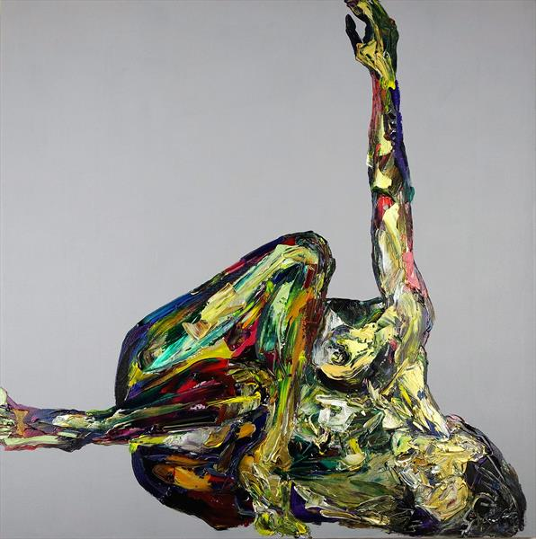 Yoga Nude in a Box Abstract 596 by Eraclis Aristidou