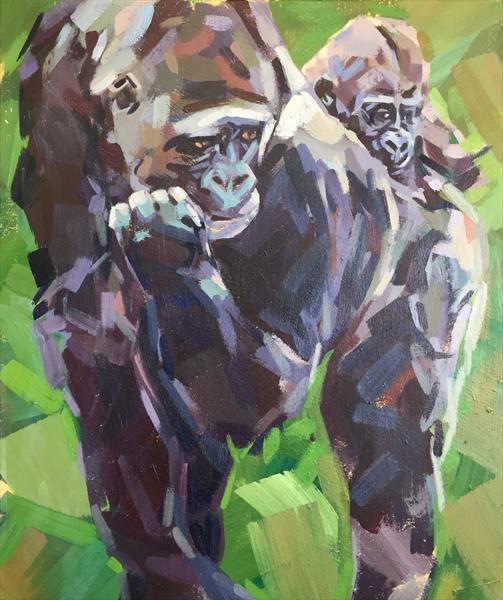 Western Lowland Gorilla and baby by Marie Antoniou