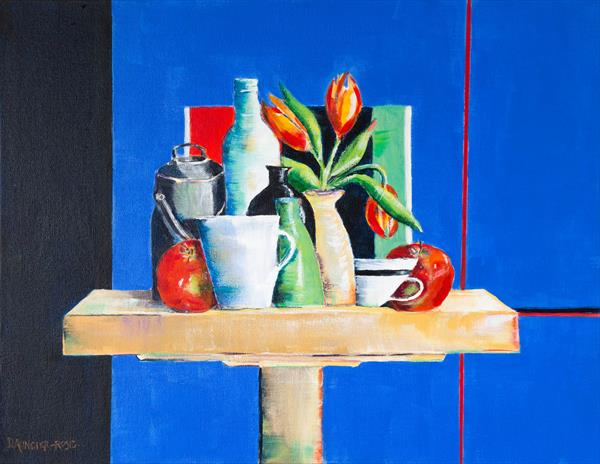 POTS AND VASES ON BLUE by Diana Aungier - Rose