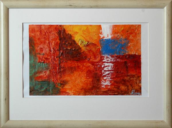 Abstract Variations # 73. Acrylic painting on paper. Matted and framed. by Rumen Spasov