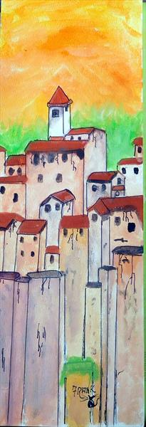 A Group of tall buildings (Framed) by Frank Crompton
