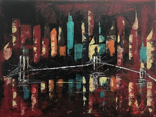 Abstract City With Bridge Painting  by  Rizna  Munsif
