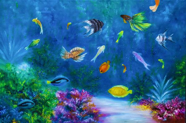 Underwater painting, ocean painting, sealife by Florentina(anca)  popescu