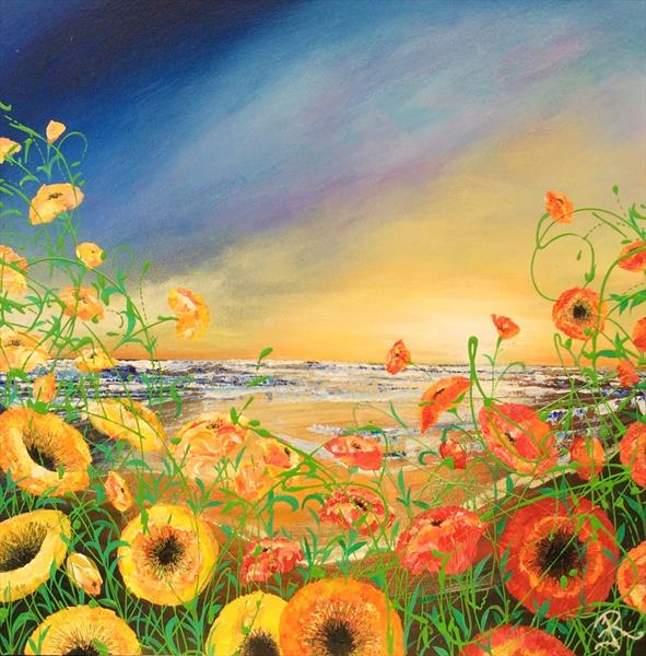 Wild Poppies by the Sea by Janice  Rogers