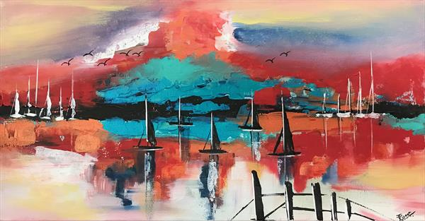 Sunset Abstract Painting 114 by  Rizna  Munsif