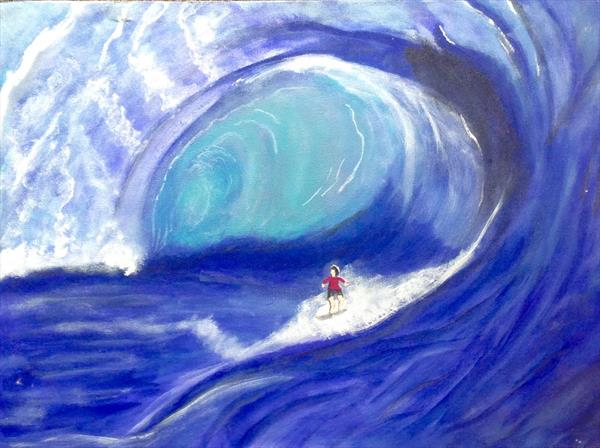 Wave Challenged ( on boxed canvas) by Anushree Mish