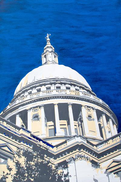 London painting - St Paul's dome - 91cm x 61cm approx by Kris  Mercer